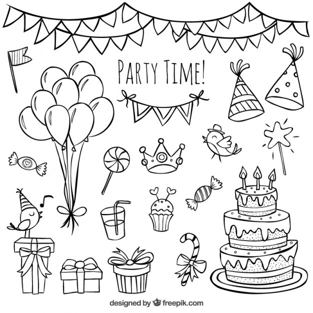 626x626 Hand Drawn Birthday Doodles Vector Premium Download