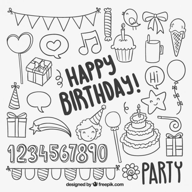 626x626 Hand Drawn Birthday Elements Vector Premium Download
