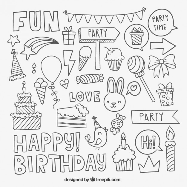 626x626 Sketchy Birthday Party Elements Vector Free Download