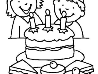 320x240 Birthday Drawing For Kids Two Kids Smiling Birthday Party Coloring