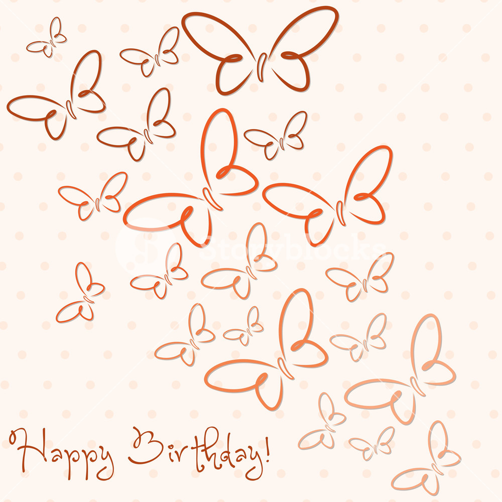 1000x1000 Hand Drawn Happy Birthday Butterfly Card In Vector Format. Royalty