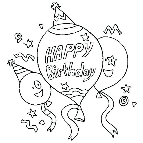 600x600 Happy Birthday Card Coloring Pages Happy Birthday Coloring Pages