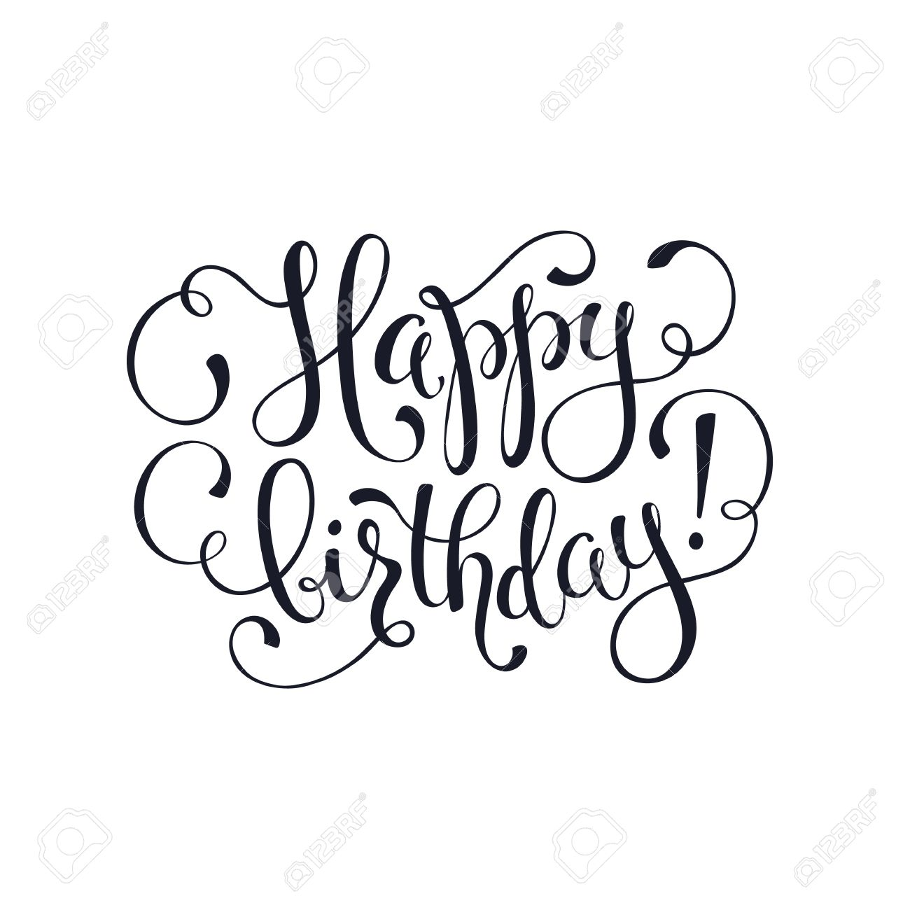 1300x1300 Happy Birthday Greeting Card Template. Hand Drawn Calligraphy