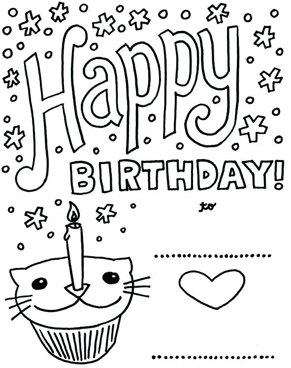 591x747 Birthday Card Coloring Page Birthday Card With Pictures Cat