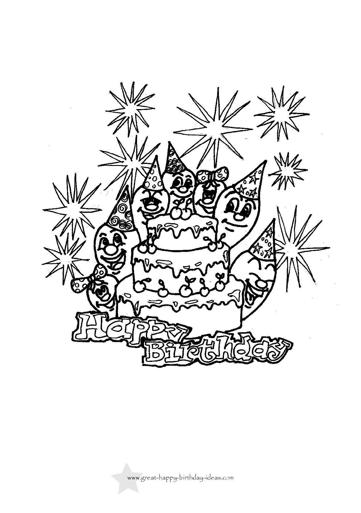 1217x1731 Printable Birthday Coloring Pages