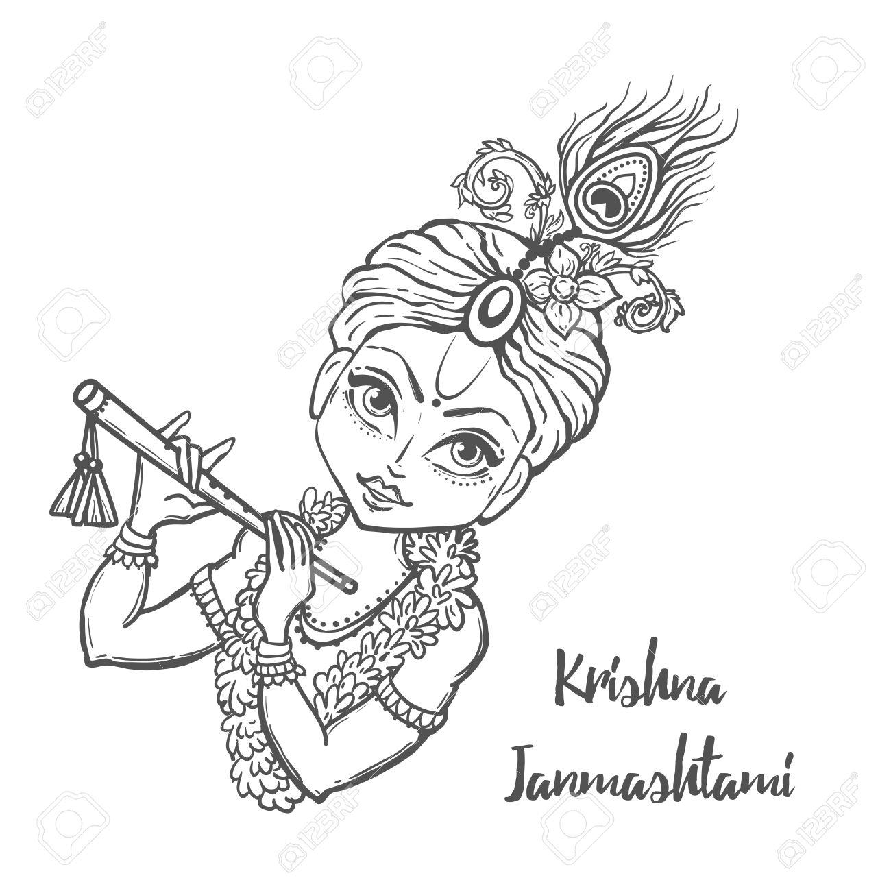 1300x1300 Shri Krishna Cartoon Drawings Sketches Ornament Card With Lord