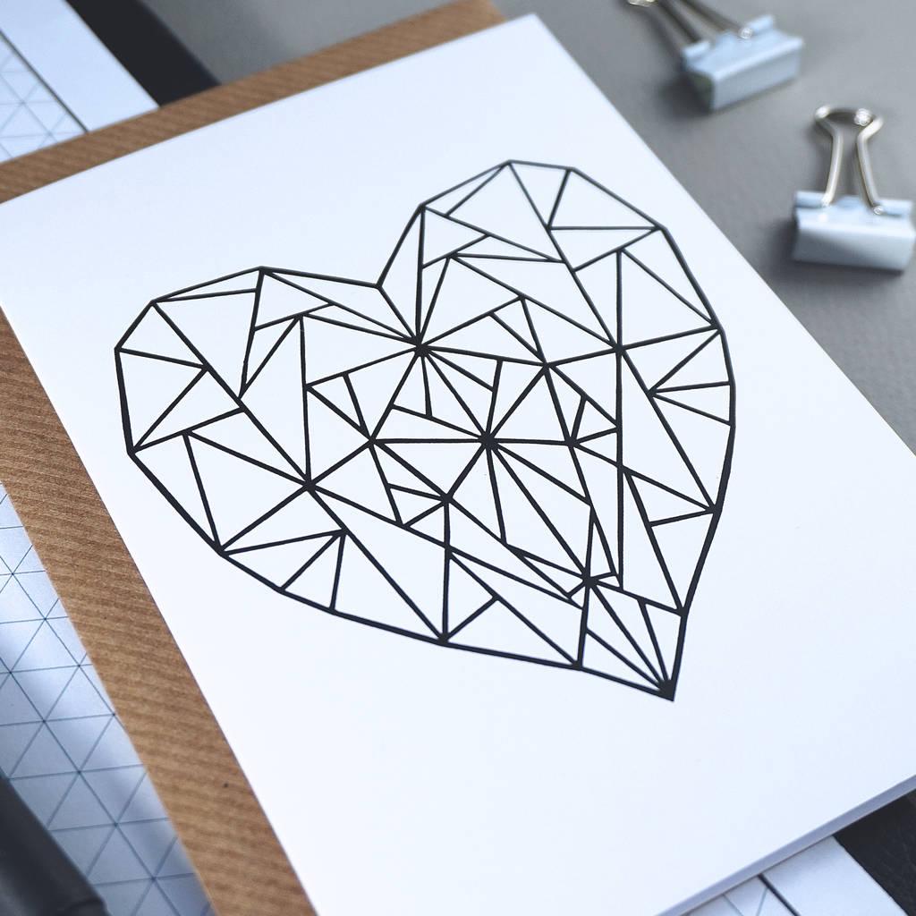 1024x1024 Geometric Heart Scandinavian Style Birthday Card By Rich