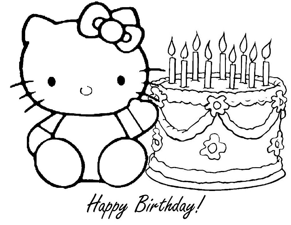 1018x787 Hello Kitty Birthday Coloring Pages Free Printable Happy