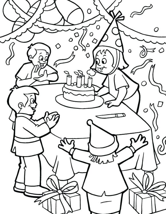 580x746 Birthday Party Coloring Page Drawn Decoration 6