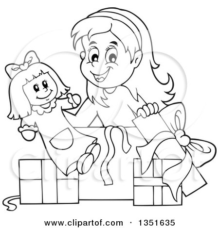 450x470 Clipart Of A Cartoon Black White Girl Opening A Doll