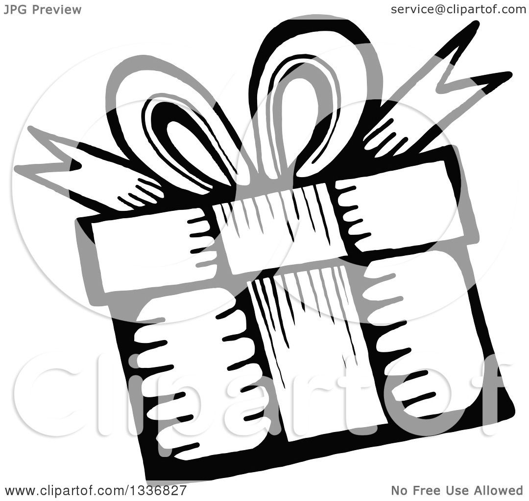 1080x1024 Clipart Of A Sketched Doodle Of A Black And White Birthday Gift