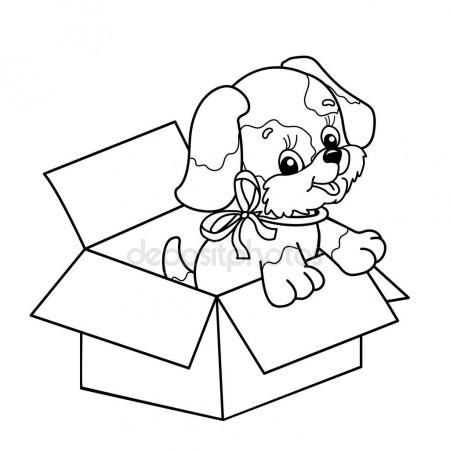450x450 Coloring Page Outline Of Cute Puppy In Box. Cartoon Dog With Bow