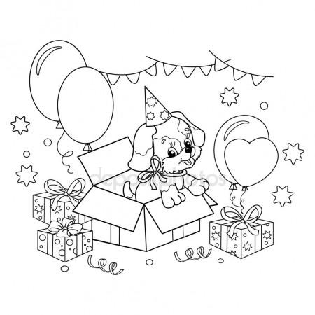 450x450 Coloring Page Outline Of Cute Puppy. Cartoon Dog With Bow. Gift