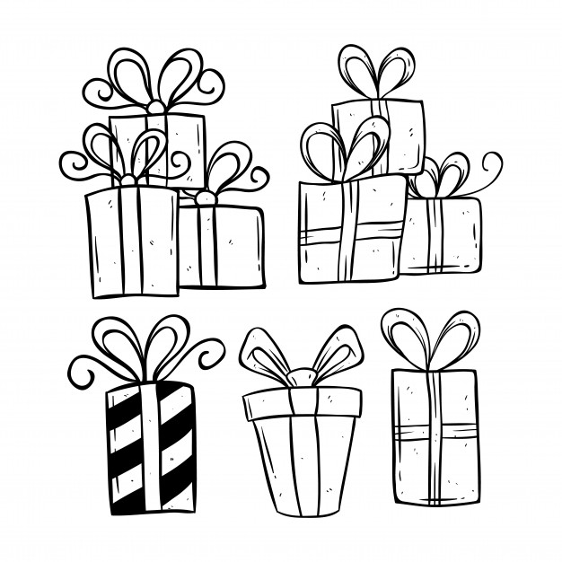 626x626 Set Of Birthday Gift Using Doodle Art Or Hand Drawing Style Vector