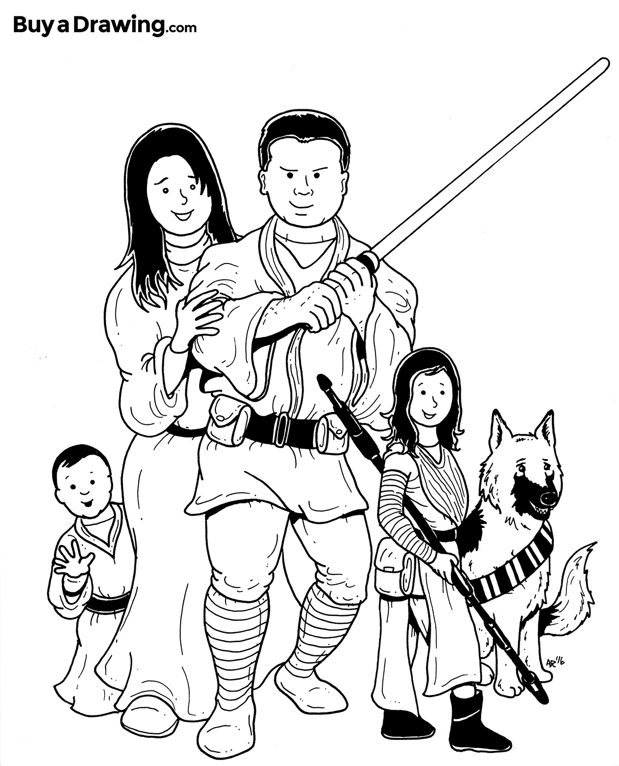 1213x1500 Star Wars Family Cartoon Caricature For A Birthday Gift
