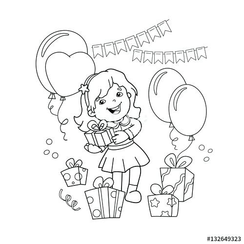 500x500 Birthday Girl Coloring Pages Coloring Page Outline Of Cartoon Girl