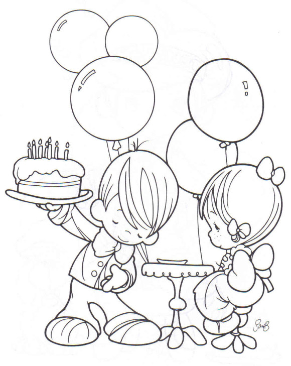 580x729 Boy And Girl Free Birthday Coloring Pages 00 Pinterest
