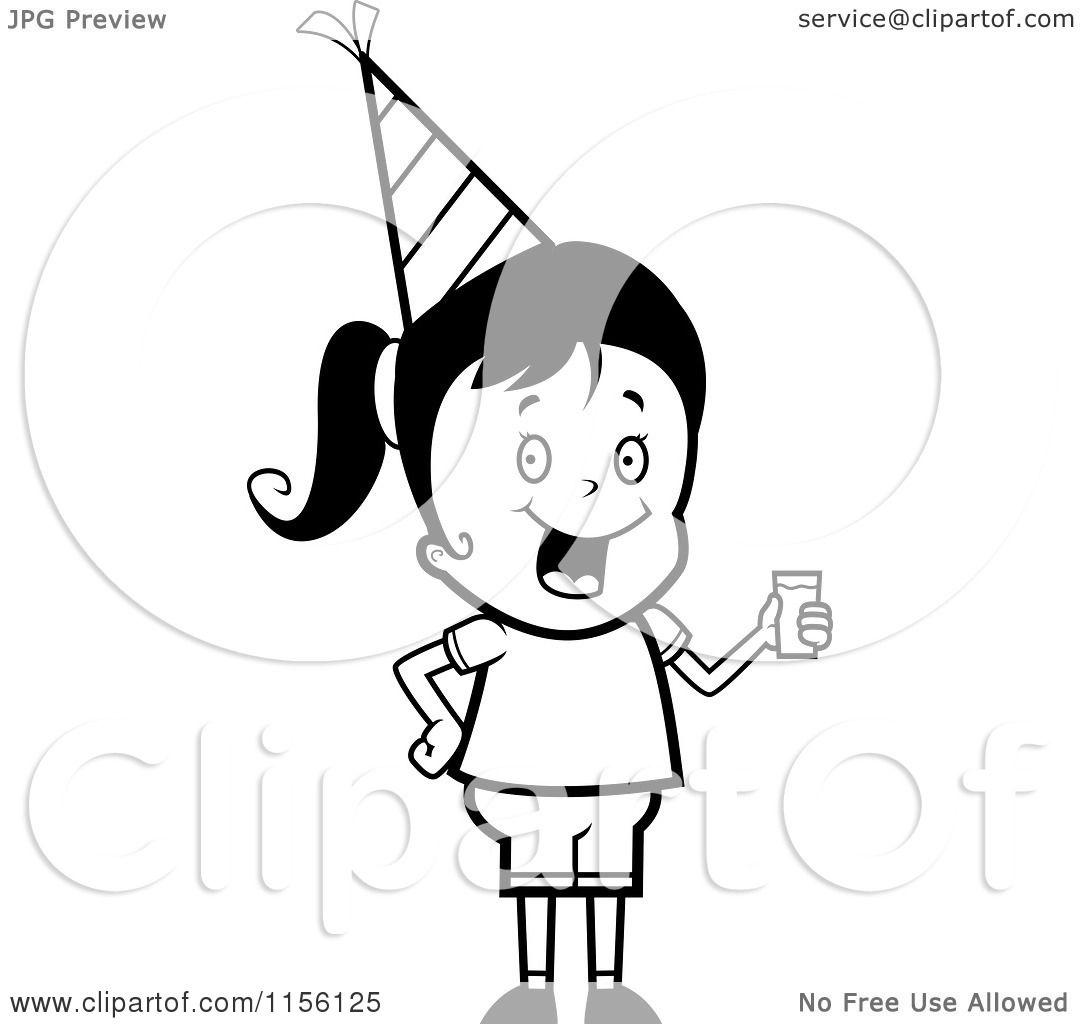1080x1024 Cartoon Clipart Of Blacknd White Cute Birthday Girl Wearing