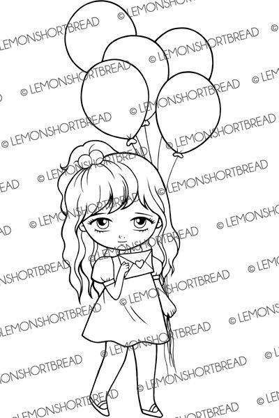 400x600 Digital Stamp Balloons Girl Digi Download Valentine'S