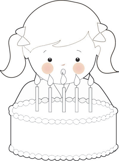 400x544 Free Birthday Girl Coloring Page