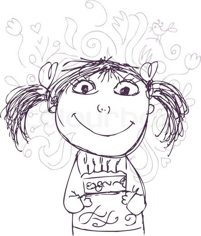 683x800 Funny Girl Sketch With Birthday Cake For Your Design Stock
