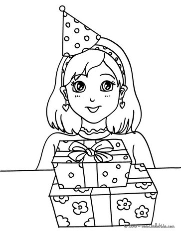 363x470 Girl With A Birthday Gift Coloring Pages