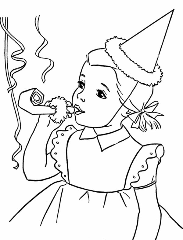 600x785 Happy Birthday Girl Blowing A Horn Coloring Page Color Luna