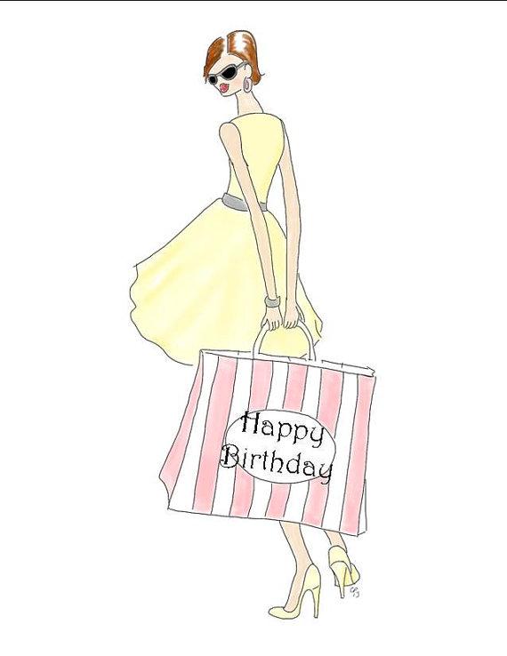 570x738 Items Similar To Posh Shopping Girl, Happy Birthday, Drawing Card