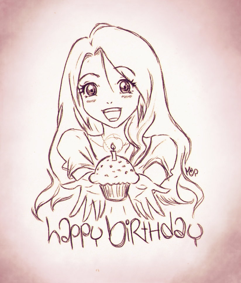 824x970 Birthday Anime Girl Doodle By Ladyinsilver