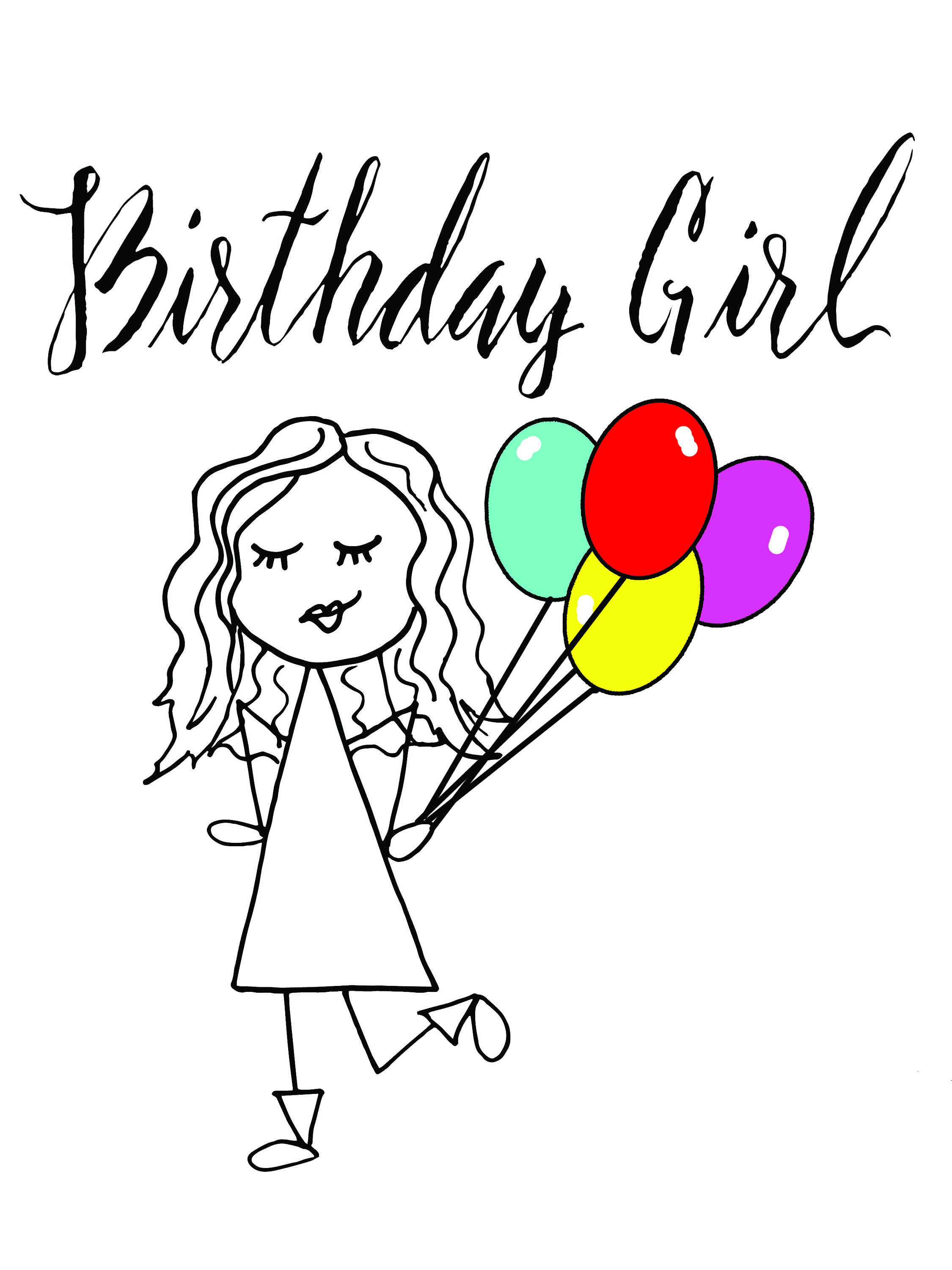 2250x3000 Birthday Day Girl CardHappy Greeting Card