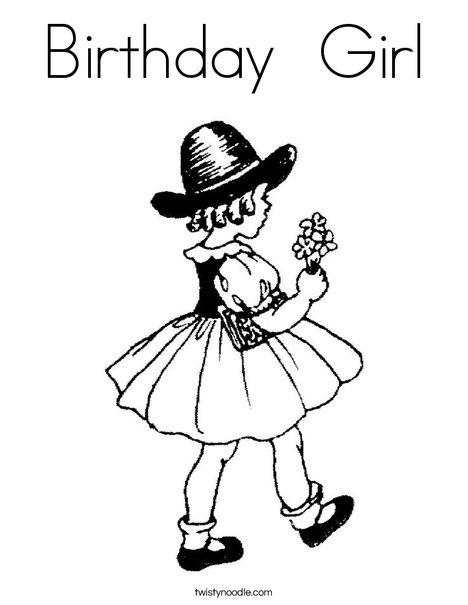 468x605 Birthday Girl Coloring Page