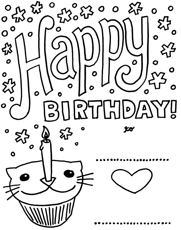 591x747 Coloring Pages Of Birthday Cards Card With Pictures Cat
