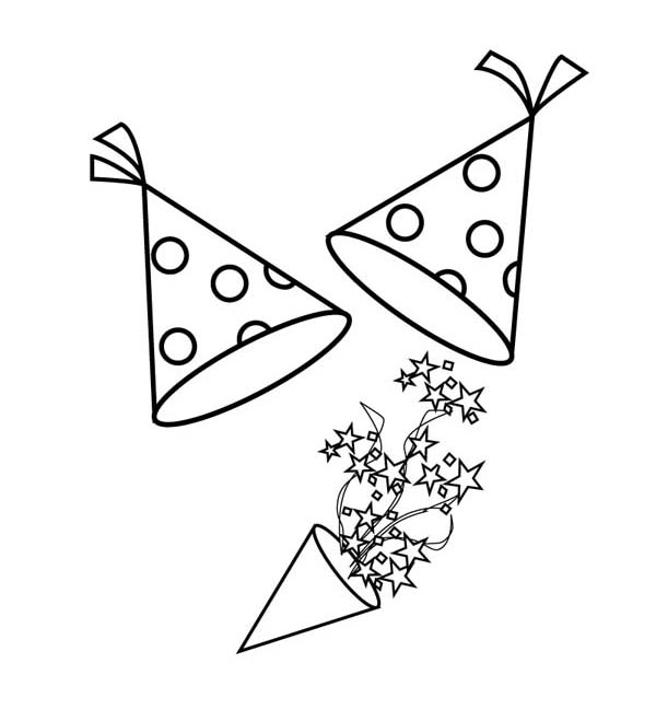 600x659 New Years Hat And Blower For New Years Party Coloring Page