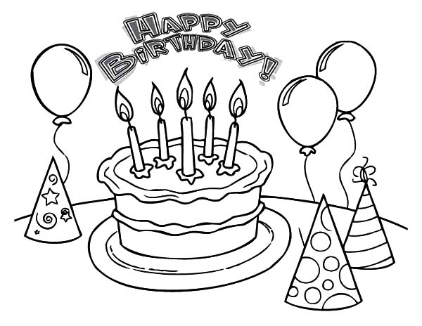 600x464 Balloons And Pointed Hat With Birthday Cake Coloring Pages Best