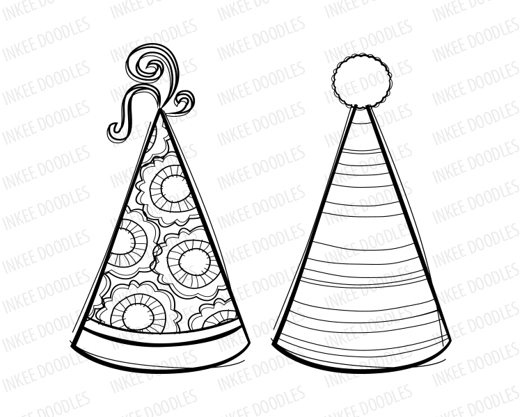 750x600 Party Hats Digital Stamps