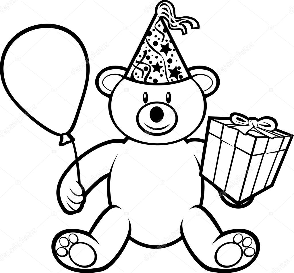 1024x949 Teddy Bear Toy With Gift Box, Birthday Hat And Balloon Stock