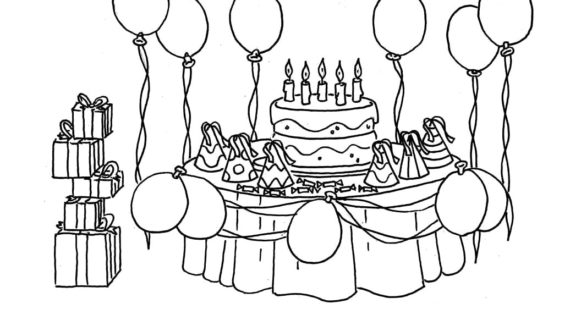 570x320 Birthday Party Scene For Drawing Birthday Party Coloring Pages