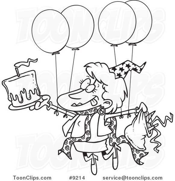 581x600 Cartoon Black And White Line Drawing Of A Birthday Party Lady