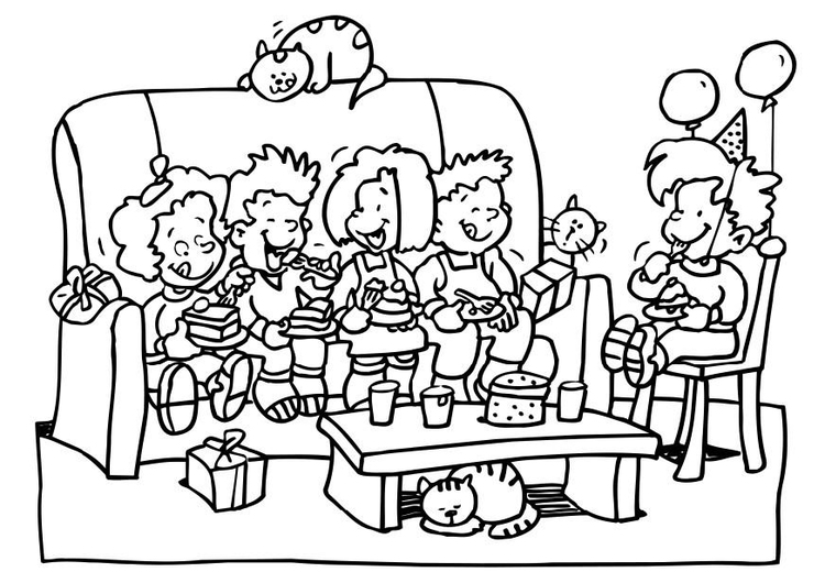 750x530 Coloring Page Birthday Party