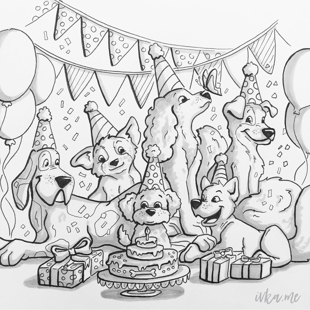 1024x1024 Dog Birthday Party By Ivkam