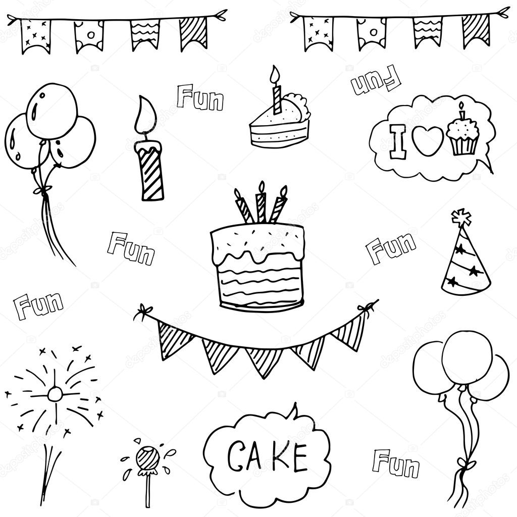 1024x1024 Doodle Vector Art Birthday Party Hand Draw Stock Vector