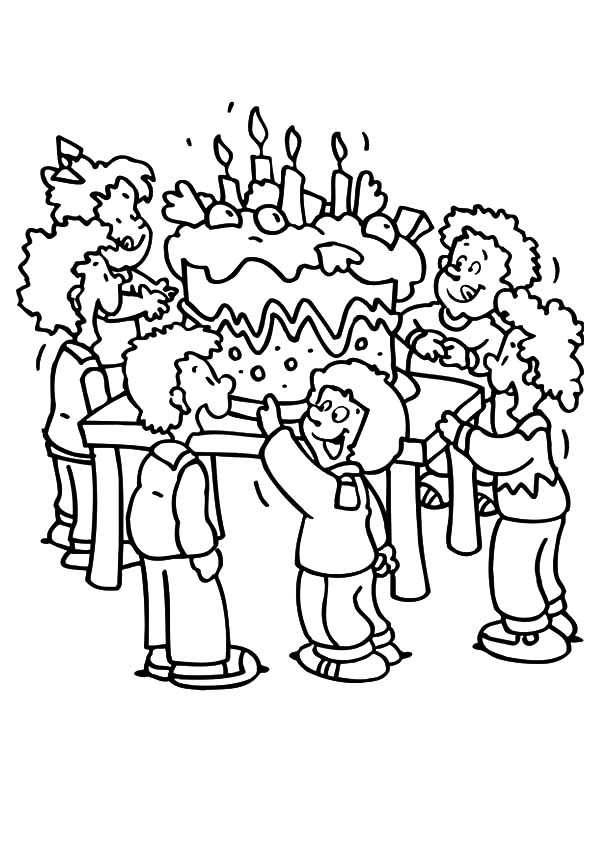 600x848 Giant Birthday Cake For Birthday Party Coloring Pages