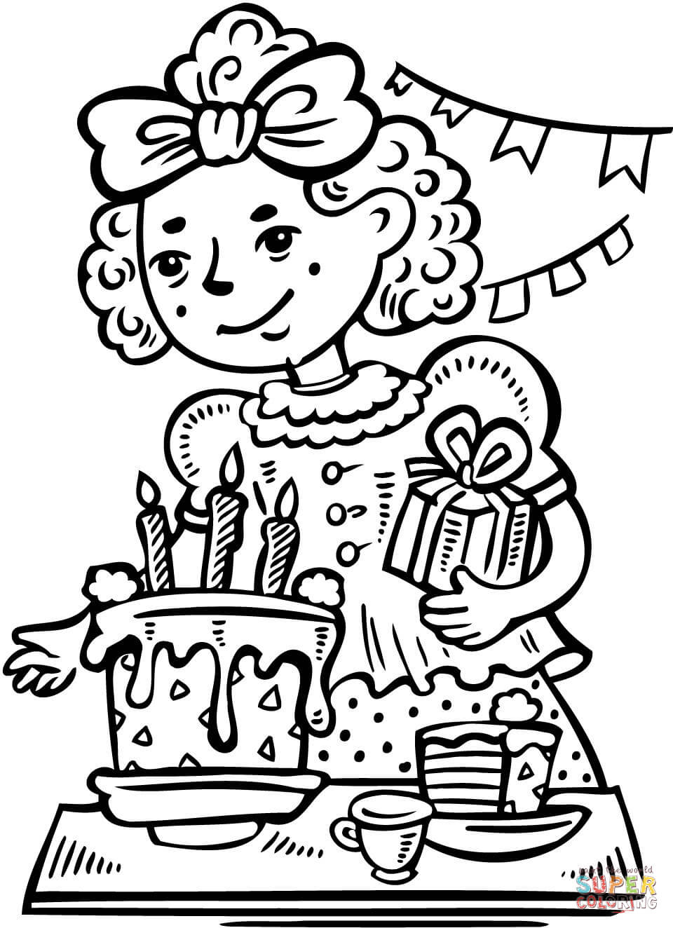 960x1324 Girl Has A Birthday Party Coloring Page Free Printable Coloring