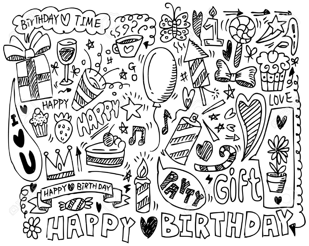 1300x1035 Hand Draw Birthday Element Royalty Free Cliparts, Vectors,