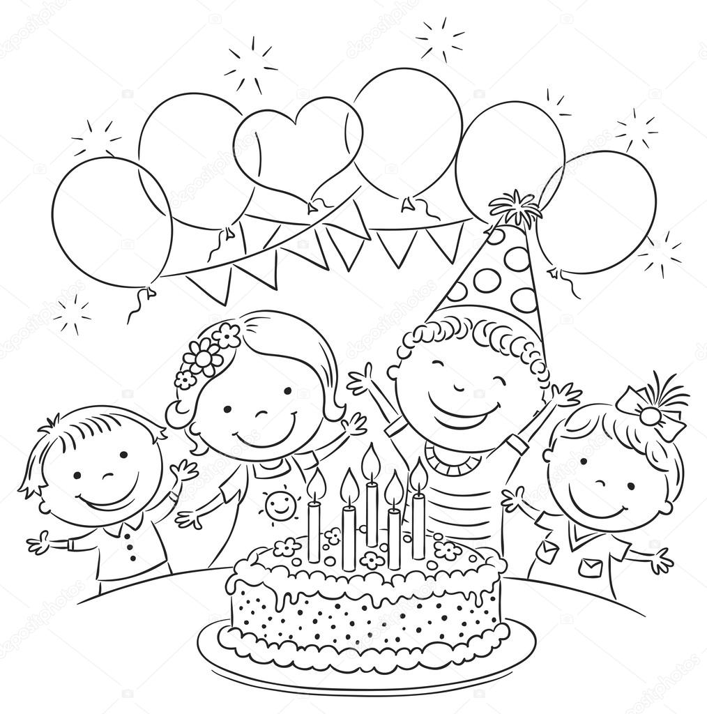 1014x1024 Kids Birthday Party Outline Stock Vector Katerina Dav
