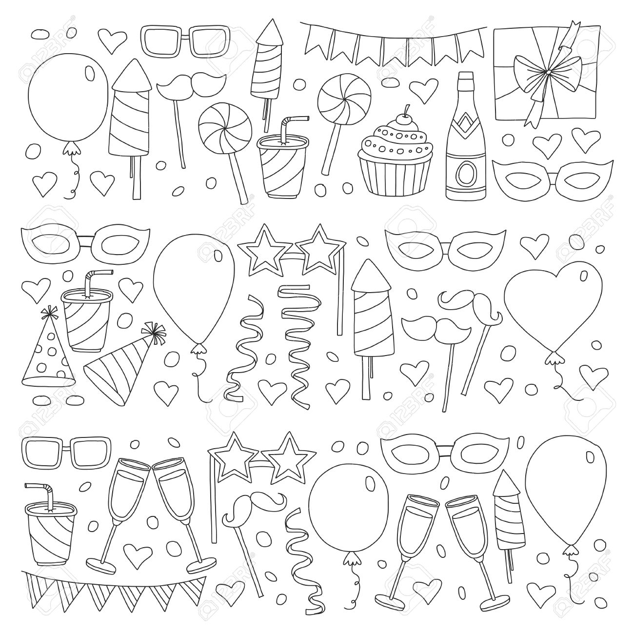 1300x1300 Set Of Birthday Party Design Elements. Kids Drawing. Doodle Icons