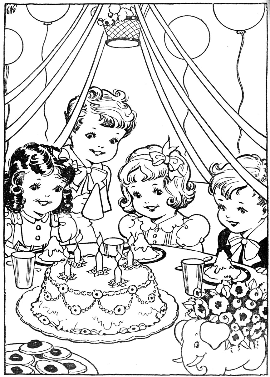 865x1206 Birthday Party Drawing Pictures Vintage Kleurplaat Verjaardag