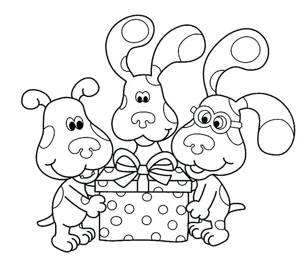 600x526 Amazing Birthday Present Coloring Page New Blues Clues Pages