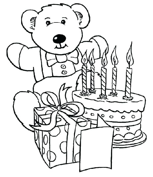 600x693 Amazing Birthday Present Coloring Page New Cake Pages Happy Teddy