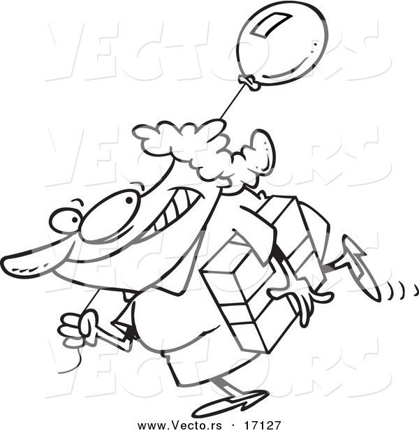 600x620 Vector Of A Cartoon Woman Carrying A Birthday Gift And Balloon